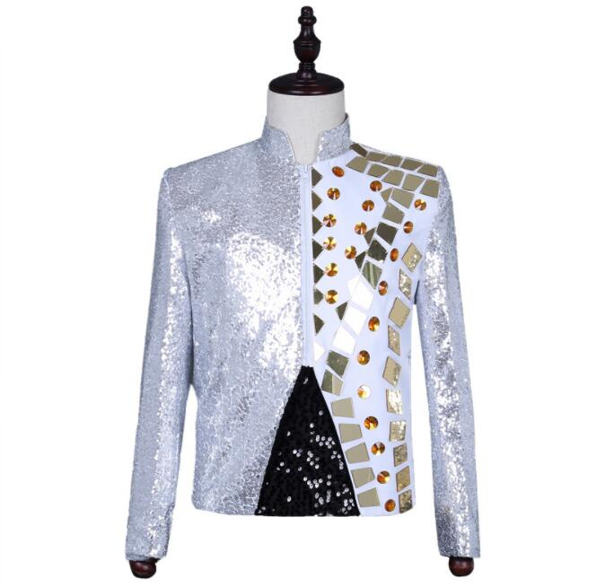 Stand Collar Lens Blazer Men Suits Designs Jacket Mens Stage Costumes Singers Clothes Dance Star Style Dress Punk Rock Silver