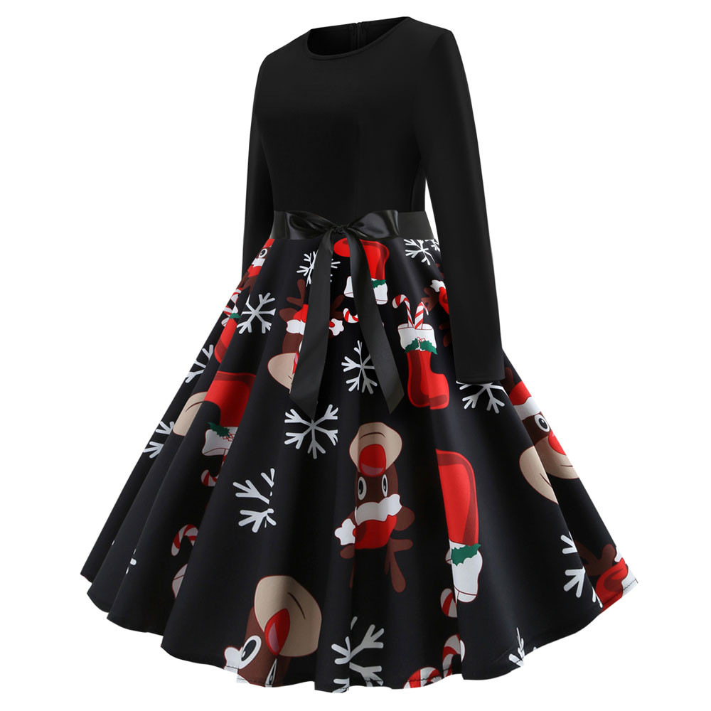 H5e6848cfd5744635ac68d3b8ae63cec8c Winter Christmas Dresses Women Elk and snowflakes Vintage Pinup Elegant Party Dress Long Sleeve Casual Plus Size Print Black