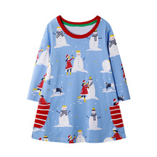 Christmas Dress New Year Costume Toddler Kids Baby Girls Cartoon Snowman Stripe Princess Outfits H0920