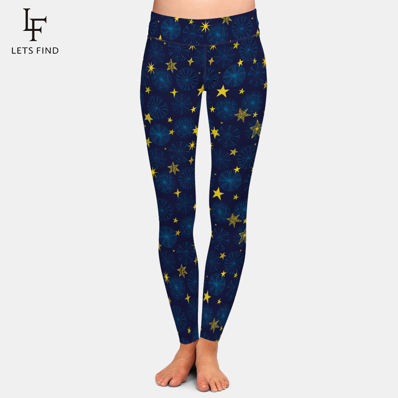 LETSFIND Women Casual High Waiste Winter Warm Christmas Snowflakes And Stars Print Leggings Fitness Skinny Legging Plus Size