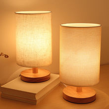 Modern Nordic Wood LED Table Lamp Dimmable Living Room Bedroom Bedside Living Room LED Lighting Fixtures Fabric LED Table Light(China)