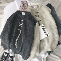 Winter Sweater Men Warm Fashion Sweter Lace Casual Knit Sweaters Man Streetwear Loose Long-sleeved Pullover Male Clothes
