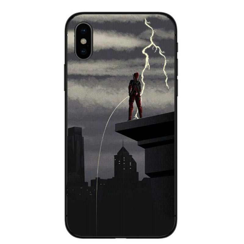Super Cool divertido lindo Marvel Deadpool negro a menudo funda de silicona para iphone X10 XR XS MAX 5 5S iphone 6 funda para teléfono 6S Plus 7 8 Plus