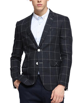 Man's Suit Blazer Plaid Casual Jacket One Button Shawl Lapel Tuxedos 1 Piece 2019 New heather one button blazer three piece suit