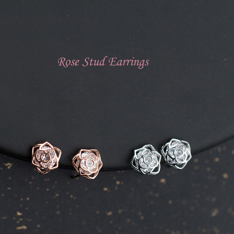 Rose Stud Earrings Real 925 Sterling Silver Mini Hollow Rose Flower with CZ Earrings Studs Romantic Jewelry for Women Girls