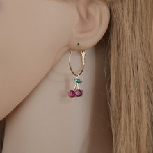 Design simples vermelho diamante cereja brincos para mulheres coreano moda bonito piercing brinco doce romântico jóias meninas presentes e25