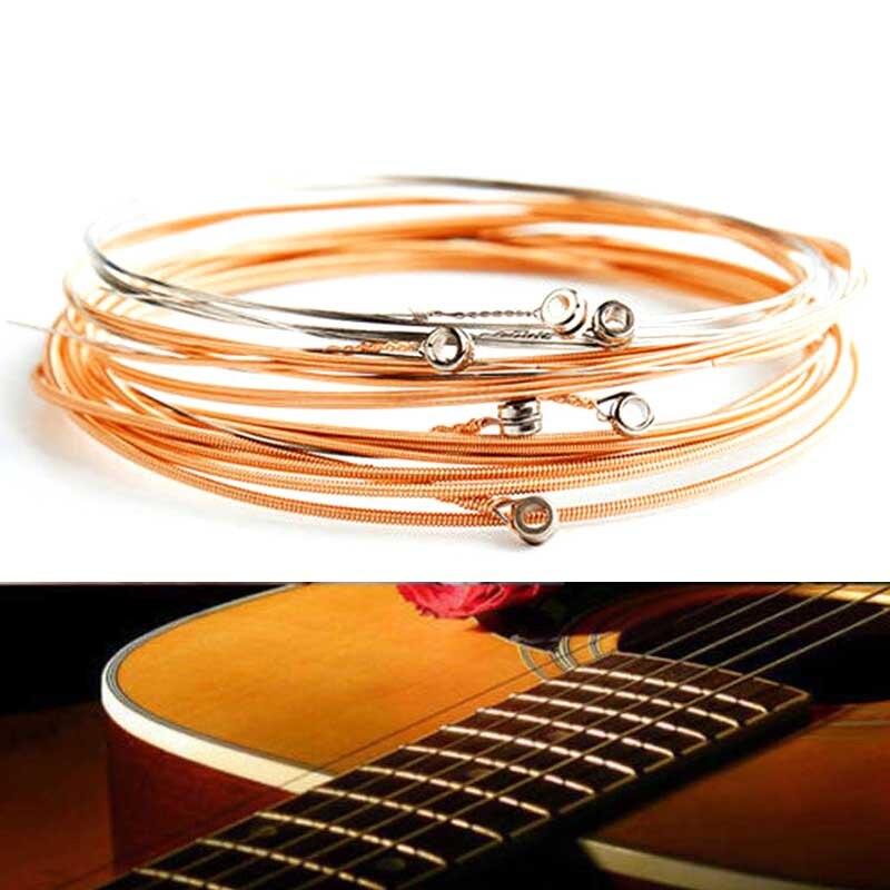 6Pcs/Set Acoustic Guitar Strings Red Copper Guitar Strings E-A For Acoustic Folk Guitar Classic Wooden Guitar