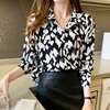 Women Chiffon Shirts Retro Single-breasted Long Sleeve Floral Painted Turn Down Collar Blusas Top 2021 New Spring Female Blouses 4