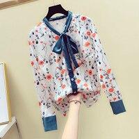 New Women's Print Shirt Temperament Bow Collar Long Sleeve Satin Chiffon Blouse Women Office Wear All match Basic Tops Nancylim
