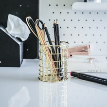 Simple Gold Wrought Iron Round Hollow Pen Holder Multifunctional Office Desk Stationery Storage Tube SP99