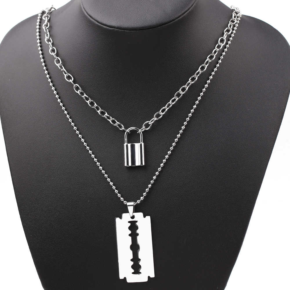 Double Layer Lock Pendant Necklace Hollow Out Large Razor Blade Necklaces Fashion Women Jewelry Accessories Gothic Gifts