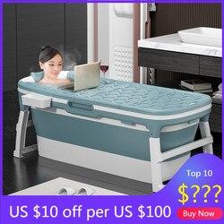 Livraison gratuite 138CM adulte baignoire pliante bébé piscine enfants bain baril ménage Portable baignoire isolation baignoire avec couvercle