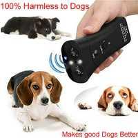 Ultraschall Hund Chaser Stop Aggressive Tier Angriffe Repeller Trainer LED Taschenlampe Ausbildung Control Anti Rinde Bellen
