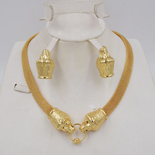 NEW DESIGN High Quality Ltaly 750 Gold color Jewelry Set For Women african beads jewlery fashion necklace set earring jewelry