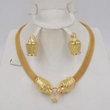Nieuwe Ontwerp Hoge Kwaliteit Ltaly 750 Goud Kleur Sieraden Voor Vrouwen Afrikaanse Kralen Jewlery Mode Ketting Set Oorbel Sieraden