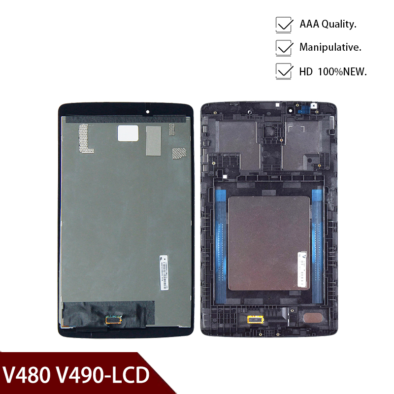 For LG G Pad 8.0 V480 V490 LCD Display Matrix Touch Screen Digitizer Panel Sensor Glass Tablet Assembly Replacement With Frame