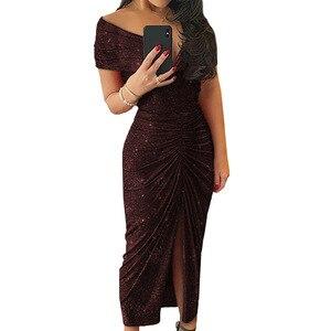 Image 3 - ルイジェイソンドレス女性パーティーナイトvestidoセクシーな肩倍分割裾ロングドレスローブフェムセクシーパーティードレスropaのmujer sukienki