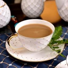 Vintage White Porcelain Tea Cup Celadon Gold Saucer Tea Set Royal Classic Bone China Pottery Taza Navidad British Coffee Cup E5