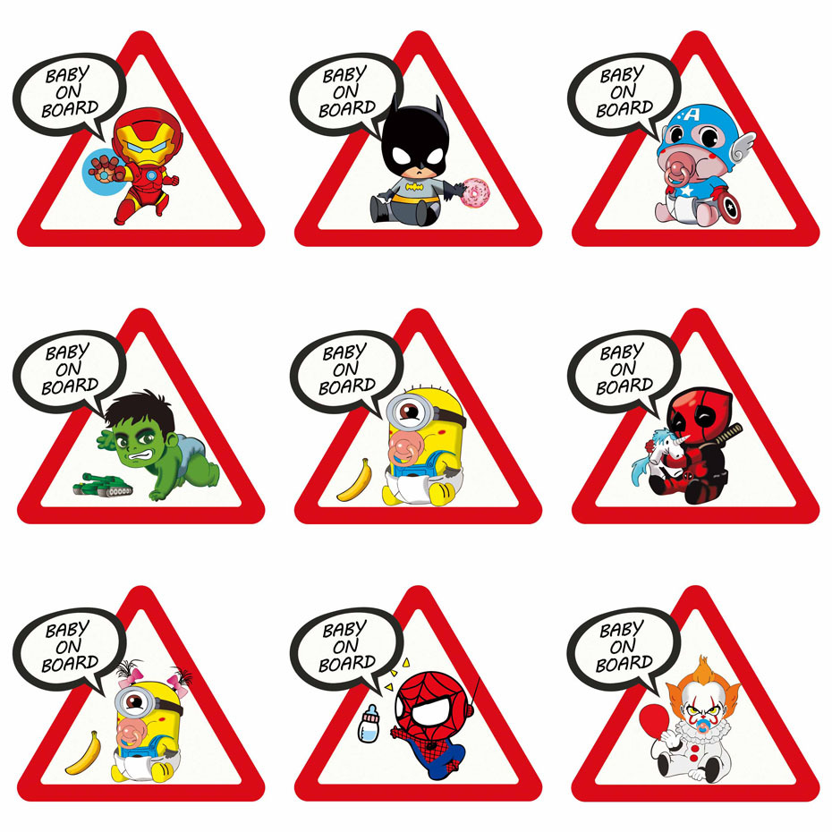 Aliauto Cartoon Car Sticker Superheroes Baby On Board Funny Vinyl Decal Cover Scratch For Skoda Honda Volvo Lada Golf,15cm*13cm