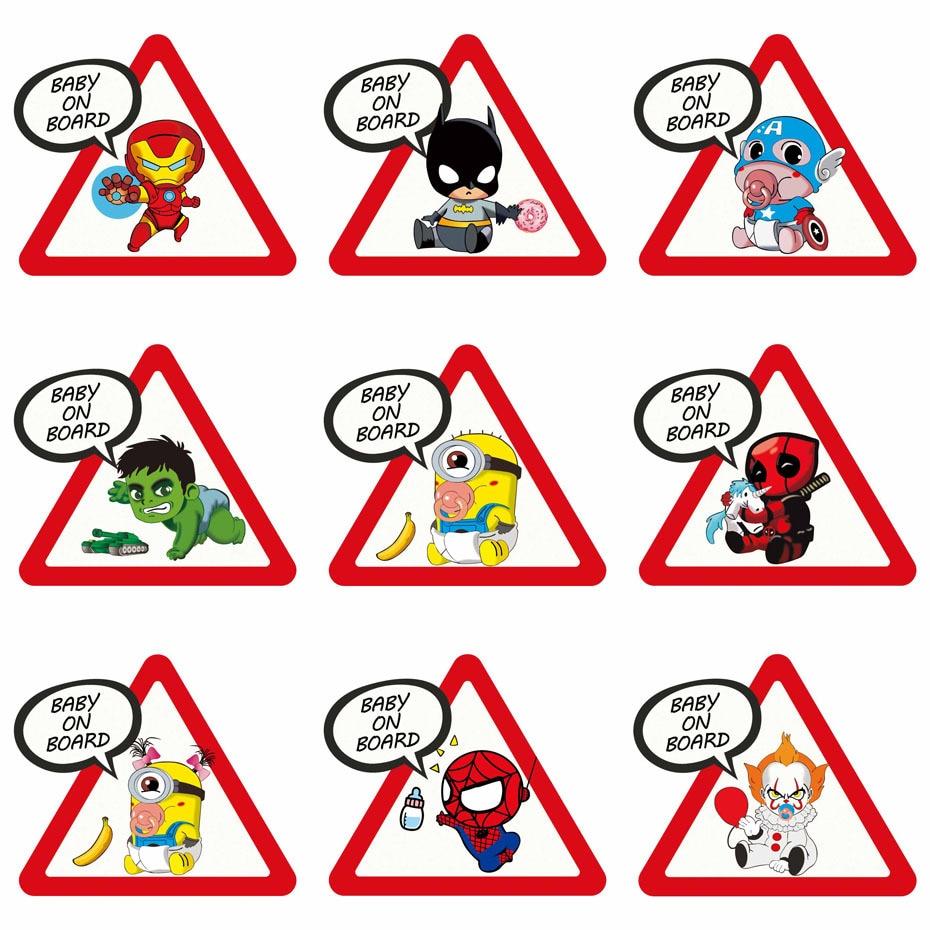 Aliauto Cartoon Car Sticker Superheroes Baby On Board Funny Vinyl Decal Cover Scratch For Skoda Honda Volvo Lada Golf,15cm*13cm