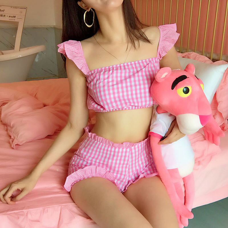 Sweet Pink Grid Crop Back Tie Cami Top And Shorts Set Plaid Summer Spaghetti Strap Clothes Set Stretchy Sexy Two Piece Set