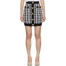 High street 2020 nova moda designer feminino sexy botão de metal embelezado houndstooth tweed saia