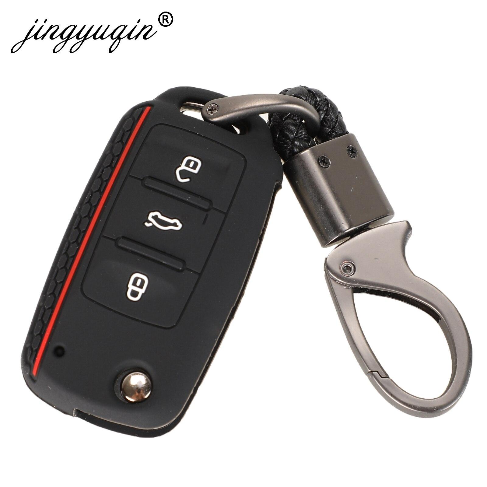 Jingyuqin etui clés de voiture en Silicone pour VW Golf Fit Skoda Yeti superbe rapide Octavia SEAT Leon ibiza 3 boutons porte-clés à distance