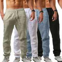 2019 calças masculinas de algodão e linho calcas dos homens com cordao soltas pantalones hombre sólidos harem pan