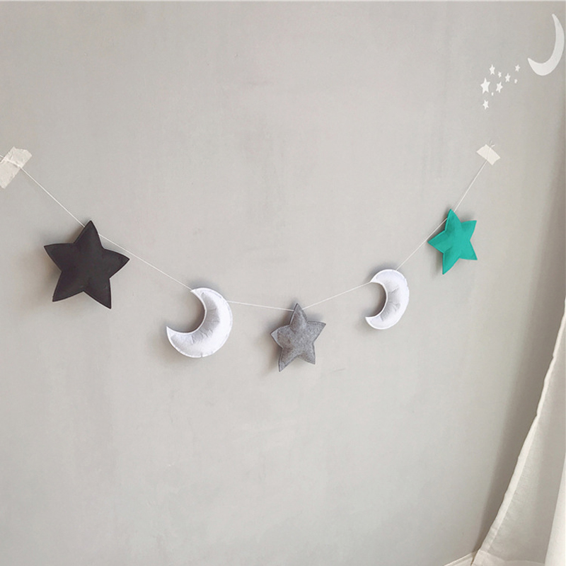 INS Nordic Felt Moon Garlands String Baby Kids Room Decoration Wall Hanging Ornaments Nursery Decor Party Banner Photo Props