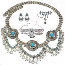 Gypsy India Necklace Afghan Oxidized Tassel Coin Jhumka Earrings Bracelet Waist Belly Chains Boho Turkish Jewelry Set