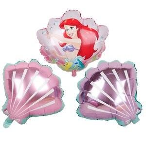 1 шт., розовые, фиолетовые Детские воздушные шары для девочек на свадьбу, Гавайские воздушные шары в виде раковины, фольгированные воздушные ...