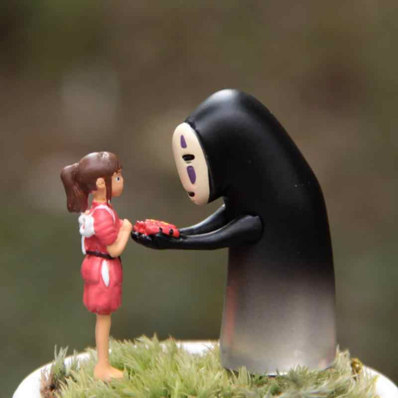 2pcs/lot cute Cartoon Studio Ghibli Spirited Away No Face Man Chihiro Girl Miyazaki Hayao No Face Man Action Figure Toys gift