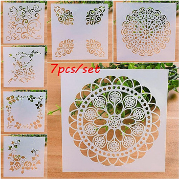 4/7/9pcs Reusable Stencil Airbrush Painting Art DIY Home Decor Scrapbooking Album Craft Photo Card Paper Craft Template image