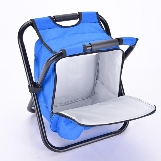 Outdoor Fishing Chair Bag Folding Camping Stool Portable Backpack Cooler Insulated Picnic Bag Hiking Seat Table Bag Bear 150KG 2