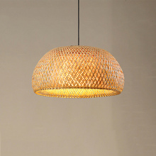 Vintage Japanese pendant lights Bamboo LED lamp Handmade Knitted Hanging Lamp Kitchen Restaurant Suspension Luminaria