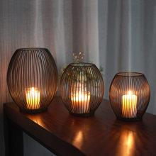 Suporte de vela de ferro oco castiçal lanterna formas geométricas centro de mesa mesa café preto forma birdcage candlestick