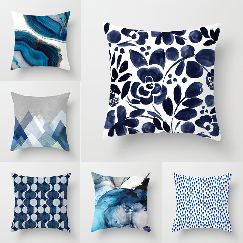 Vintage Cushion Cover Blue Abstract Geometric Printed Pillow Case Polyester Pillowcase 45*45cm Pillow Cover Car Home Decor