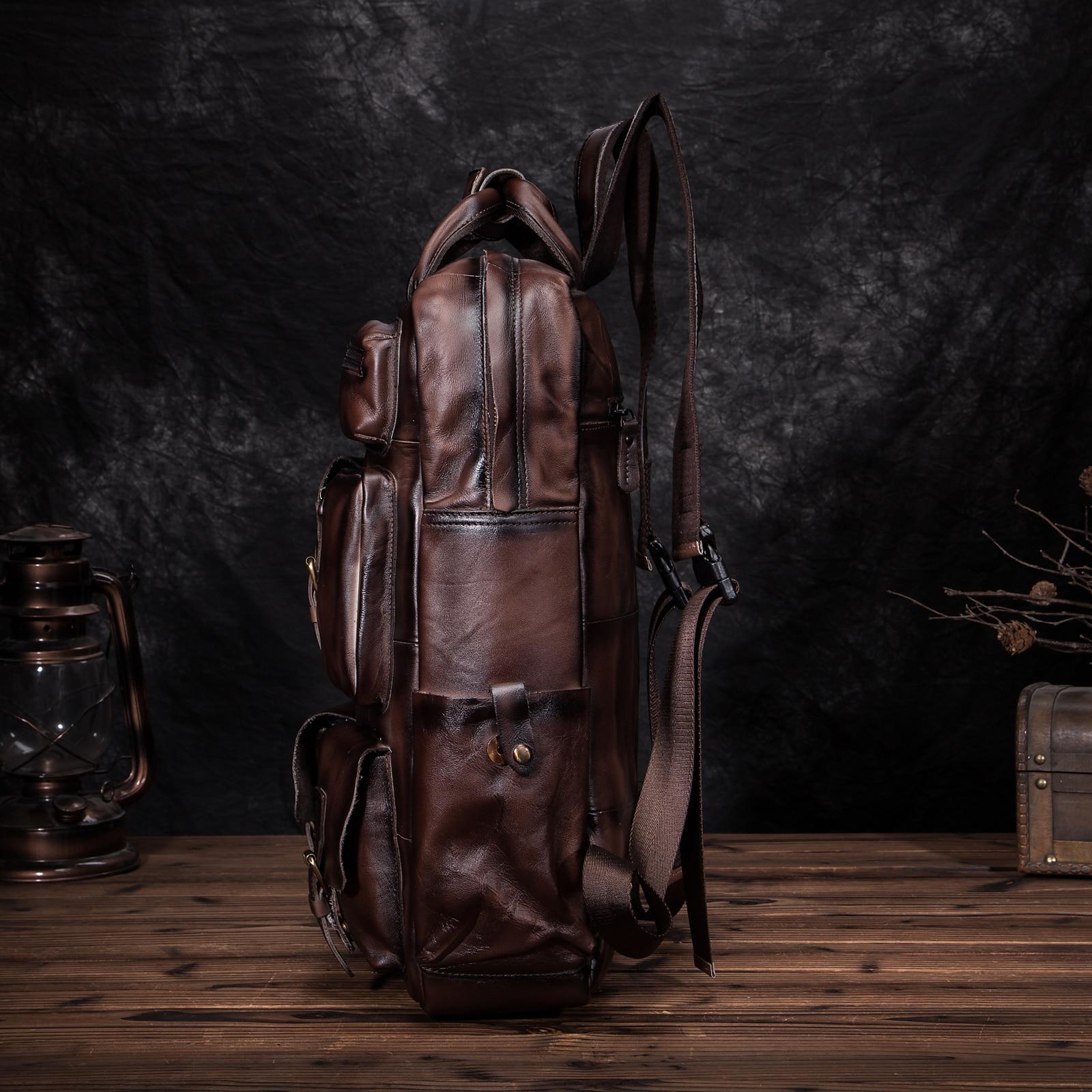 جودة أزياء والجلود سفر كلية حقيبة مدرسية تصميم الذكور الثقيلة كبيرة على ظهره Daypack حقيبة الطالب حقيبة لابتوب الرجال 1170 dc-في حقائب الظهر من حقائب وأمتعة على  مجموعة 3
