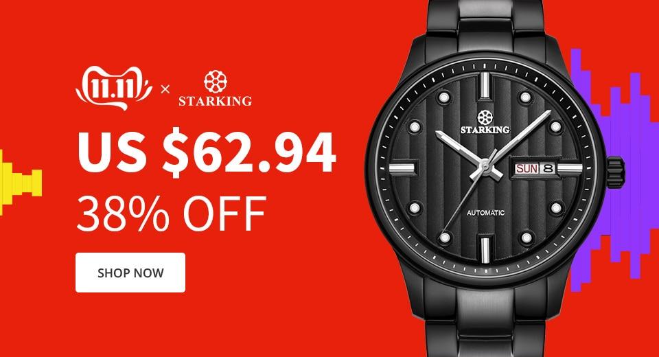 H5e6b0c3d5c524c8687a65600b798b60dt STARKING Automatic Watches Men Stainless Steel Business Wristwatch Leather Fashion 50M Waterproof Male Clock Relogio Masculino