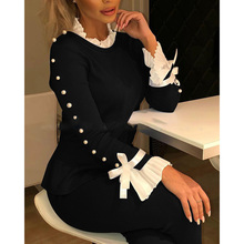 Women Elegant Beading Ruffles Patchwork Bow Tie Slim Blouse