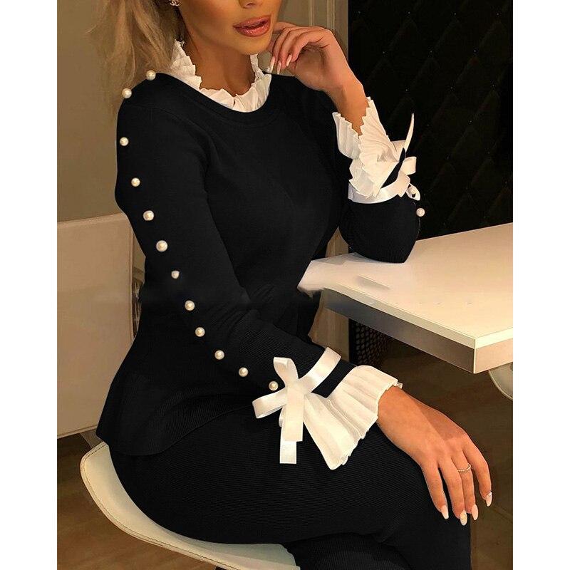 Women Elegant Beading Ruffles Patchwork Bow Tie Slim Blouse Shirt Office Lady Harajuku Korean Autumn Long Sleeve Tops SJ5131E