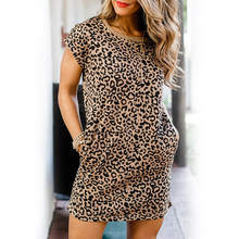 Summer Women Dress Short Sleeve O-Neck Leopard Print Casual Loose Short Mini Dress Pocket Female Ladies Pullover Streetwear