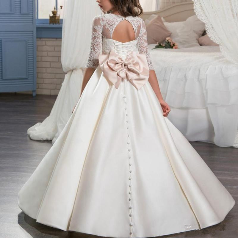 Платье с бантом для девочек, элегантное атласное с круглым вырезом, с открытой спиной, с драгоценным камнем, для свадьбы, первого Святой прич...