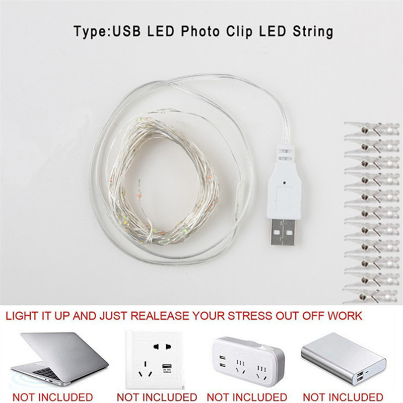 2m/5m/10m Photo Clip String Lights Led Usb Outdoor Battery Operated Garland With Clothespins For Home Decoration String Lights 3
