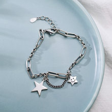 Pulsera de plata de ley 925 con estrella sonriente para mujer, brazalete de plata tailandesa con cadena de borla, joyería, regalos al por mayor, S-B381