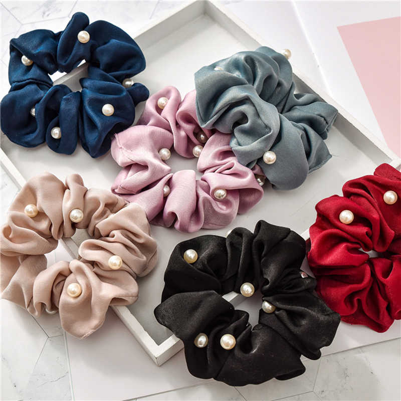 2019 New Women Pearl Satin Hair Scrunchies Stretchy  Ponytail Holder Elastics Hair Bands Silky Hair Ties Accessories for Girls