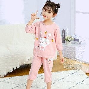 Zestawy piżam dziecięcych dziewczynek zwierząt królik strój na noc dzieci Cartoon piżamy piżamy dzieci bawełniana bielizna nocna topy + spodnie ubranka dla dzieci