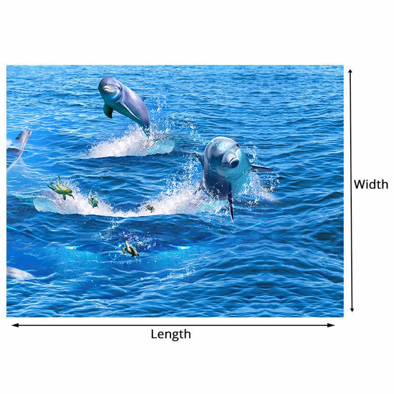 ПВХ самоклеющиеся водонепроницаемые креативные прыжки Дельфин фото обои 3D пол Фреска Гостиная Ванная комната одежда Нескользящие наклейки