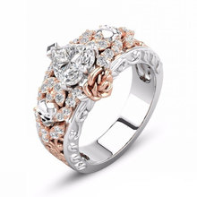 Heart Crystal Rose Gold Silver Color Engagement Rings for Women Fashion Skull Flower Finger Ring Bridal Wedding Jewelry Gifts hollow heart rings for women female micro pave engagement wedding knuckle finger ring fashion jewelry z4p900