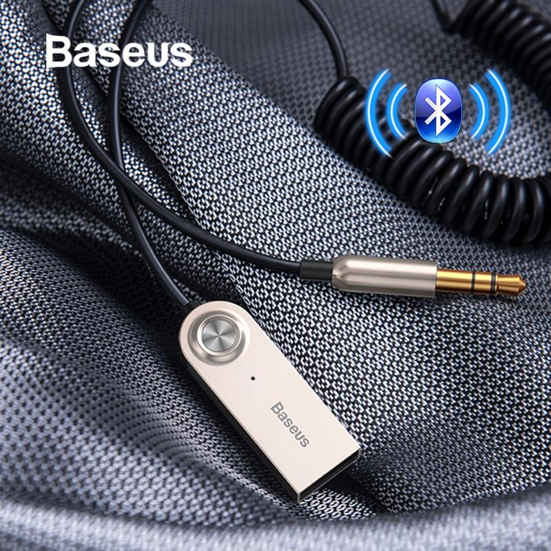 Baseus usb adaptador bluetooth aux bluetooth v5.0 receptor de áudio transmissor dongle cabo para carro 3.5mm jack adaptador de carro cabo